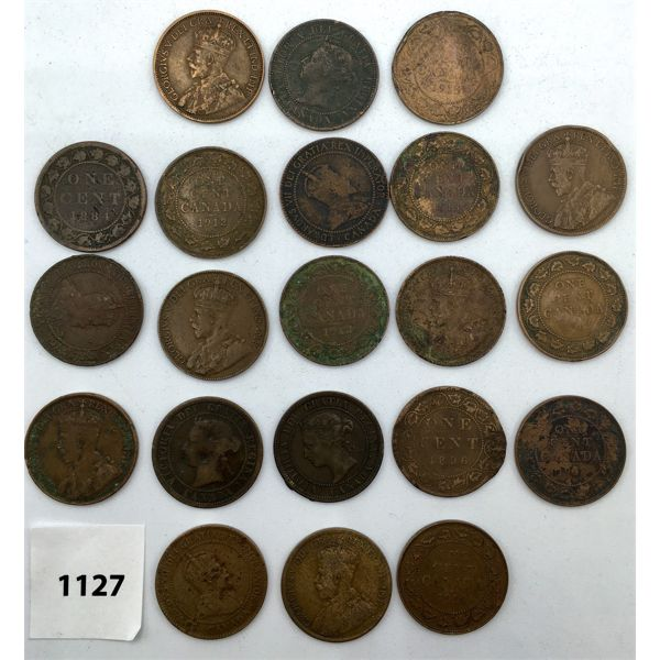 LOT OF 21 - CANADA LARGE CENTS - VARIOUS YEARS