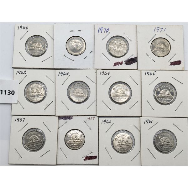 LOT OF 12 - CANADAIN NICKELS