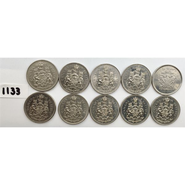 LOT OF 10 - CANADIAN 50 CENTS