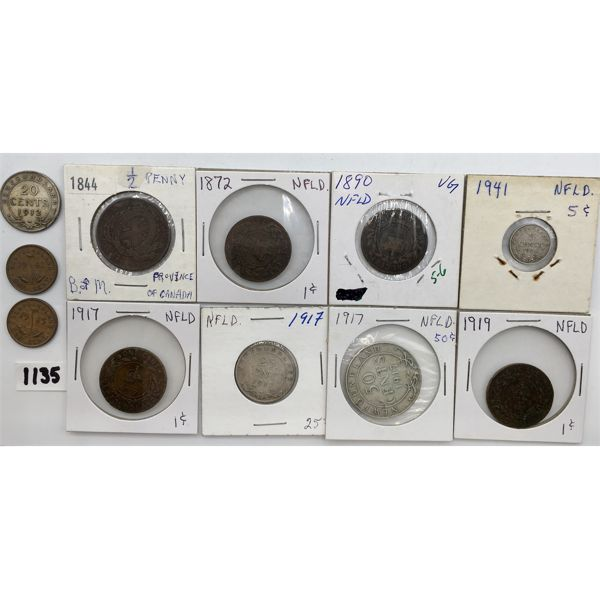 LOT OF 11 - 1844 PROVINCE OF CANADA 1/2 PENNY AND 10 NFLD COINS