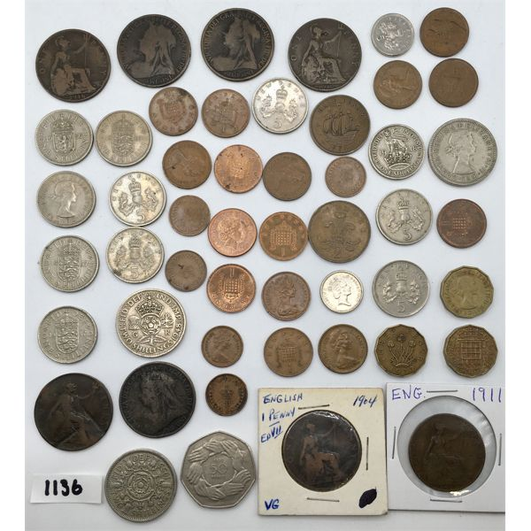 LOT OF 50 - ENGLAND COINAGE