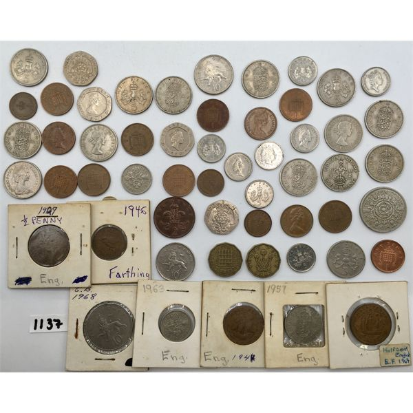 LOT OF 55 - ENGLAND COINAGE - VARIOUS YEARS