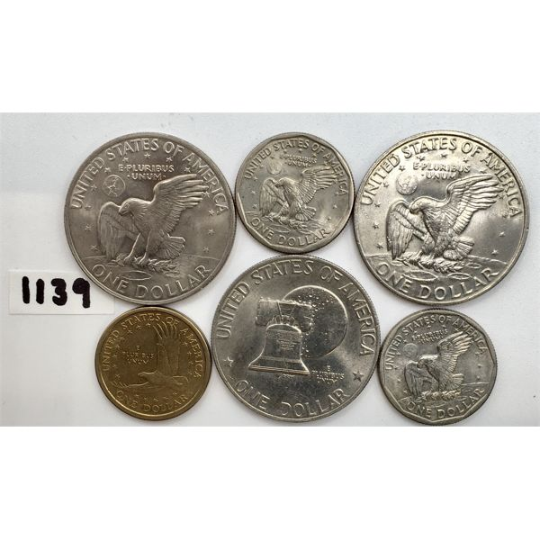 LOT OF 6 - US 1$ COINS