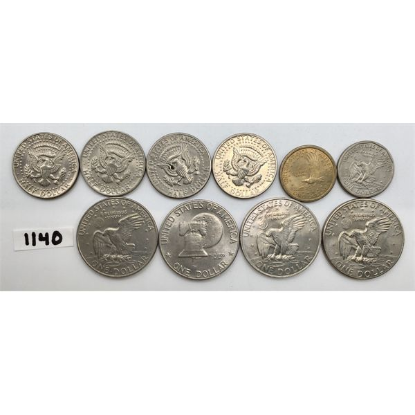 LOT OF 10 - 6 US 1$ COINS AND 4 US 50 CENT COINS
