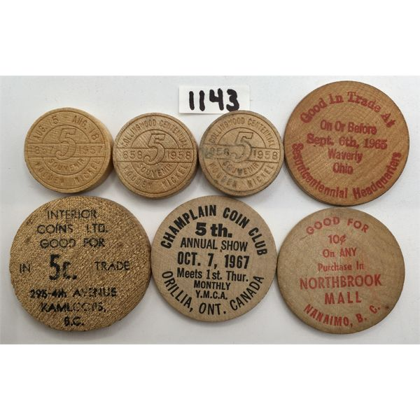 LOT OF 7 - 6 WOODEN NICKELS AND 1 WOODEN DIME