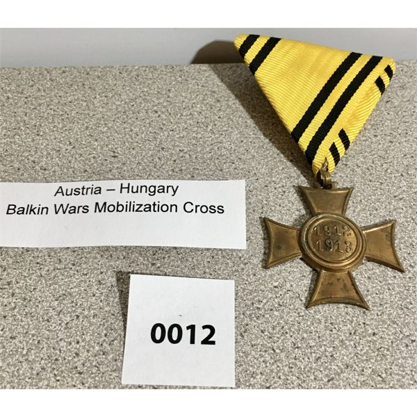 AUSTRIA-HUNGARY: BALKIN WARS MOBILIZATION CROSS