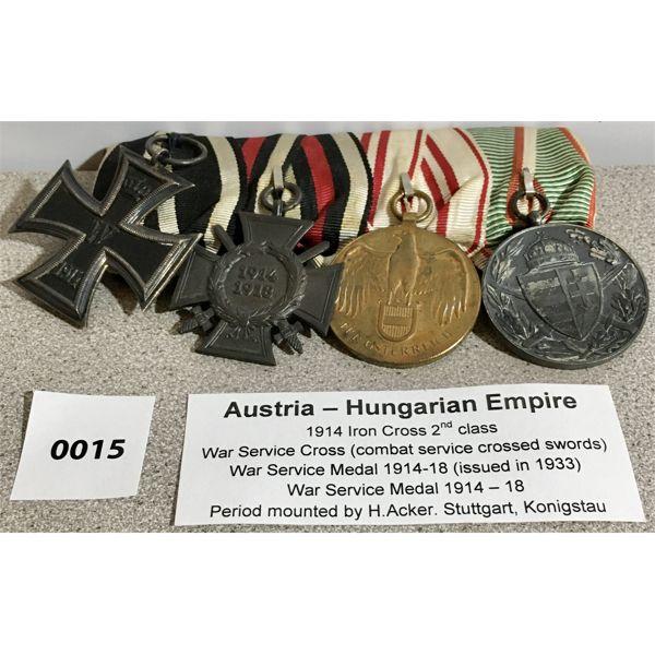 AUSTRIA-HUNGARY: IRON CROSS 2ND CLASS, WAR SERIVCE CROSS, WAR SERVICE MEDALX2