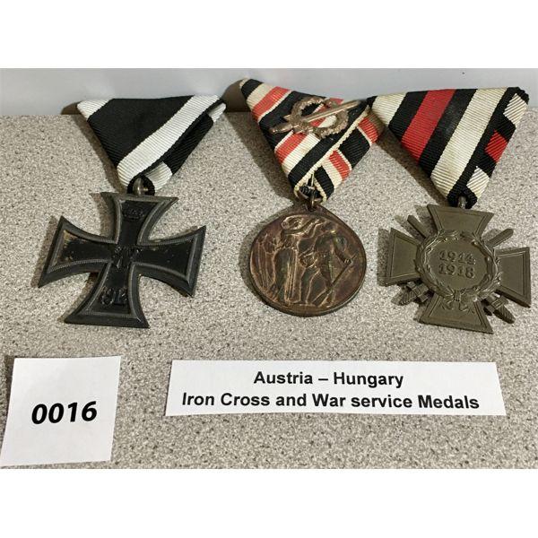 AUSTRIA-HUNGARY: IRON CROSS & WAR SERVICE MEDALS