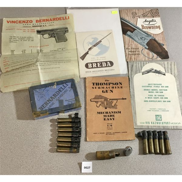 4X GUN MANUALS, BERDANELLI BOX, LIGHTER, 12X 303 BRASS ON LINKS