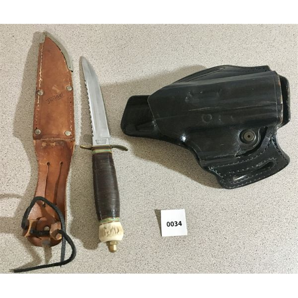 LEATHER HOLSTER & TRULINE 2 KNIFE