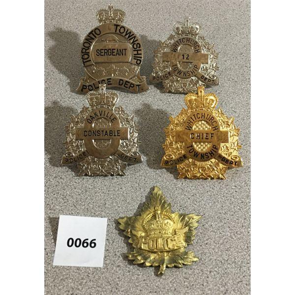 5 x POLICE INSIGNIA
