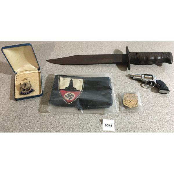 LOT OF MILITARIA ACCESSORIES - 1936 ROA PINPACK, TOYGUN, KNIFE & ETC.