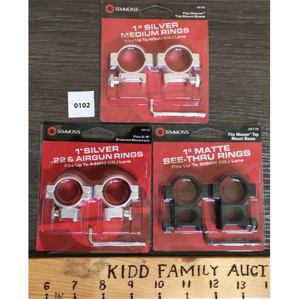 LOT OF 3 - SIMMONS 1 INCH SCOPE RINGS - NEW