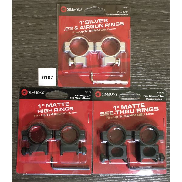 LOT OF 2 - SIMMONS 1 INCH SCOPE RINGS - NEW