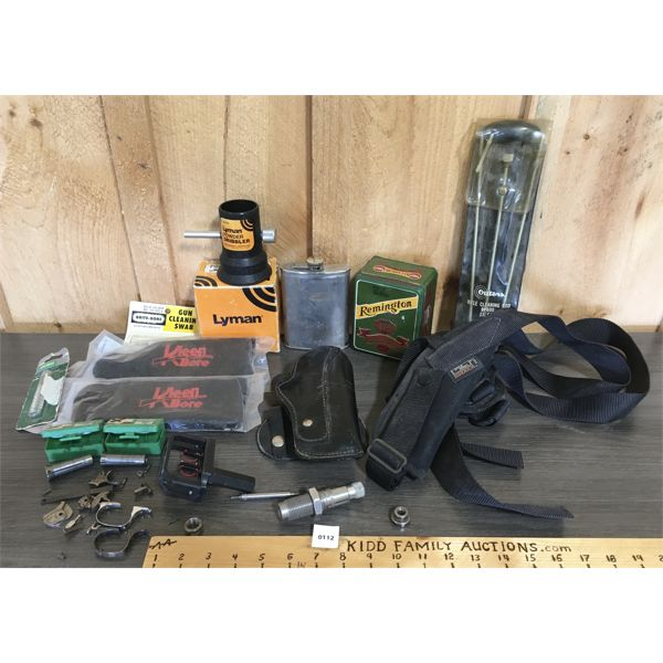 JOB LOT - HOLSTERS, CLEANING GEAR, TRIGGER PARTS, .375 WIN DIE, BULLET PULLERS, ETC