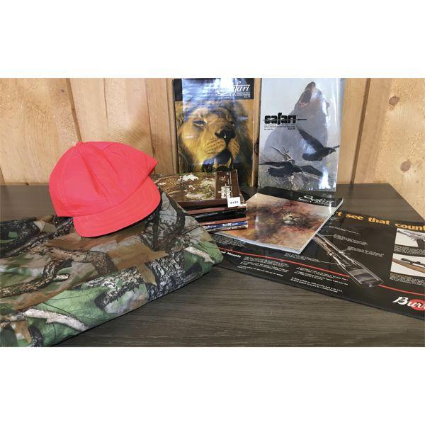 JOB LOT - SAFARI MAGAZINES, SAFETY HATS, CAMO APPRON (NEW), GUN CLEANING MAT