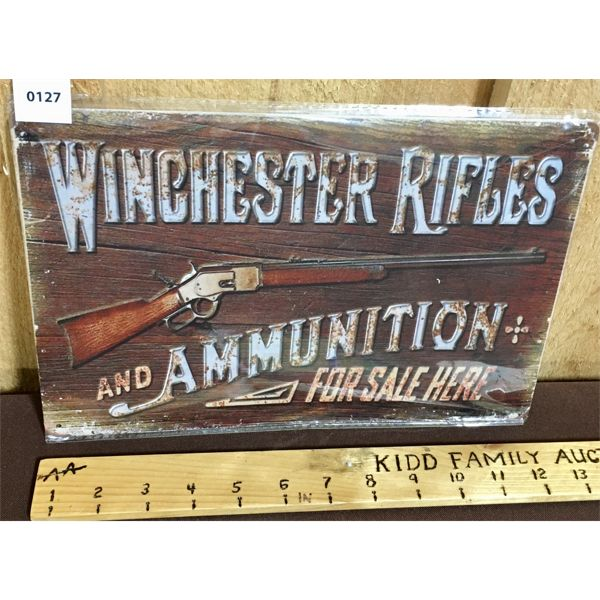 WINCHESTER RIFLES - REPRO TIN SIGN - 8 X 12 INCHES