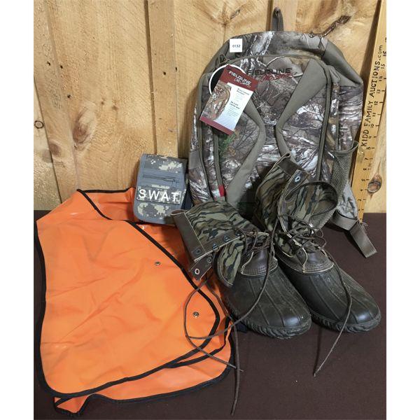 JOB LOT - HUNTING GEAR - SAFETY VEST, SZ APPROX 11, AMMO POUCH, KNAPSACK (NEW)