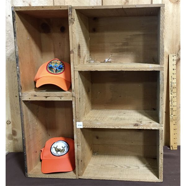 LOT OF 3 - RUSTIC SHELF MADE FROM CIL AMMO CRATES & 2X SAFETY HATS