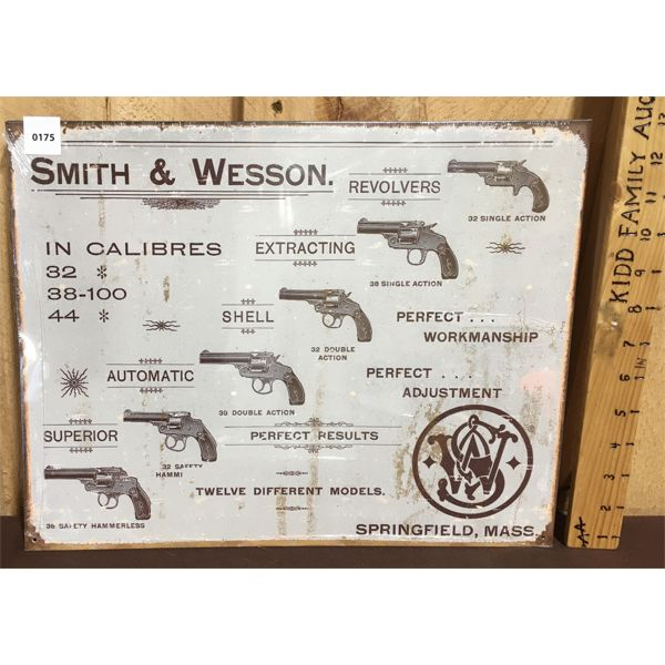 SMITH & WESSON - REPRO TIN SIGN - 12 X 16 INCHES
