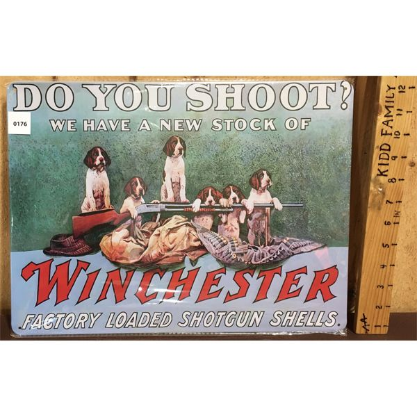 WINCHESTER - REPRO TIN SIGN - 12 X 16 INCHES