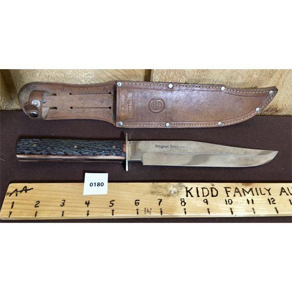 BOWIE KNIFE W/ LEATHER SHEATH - 8 INCH BLADE
