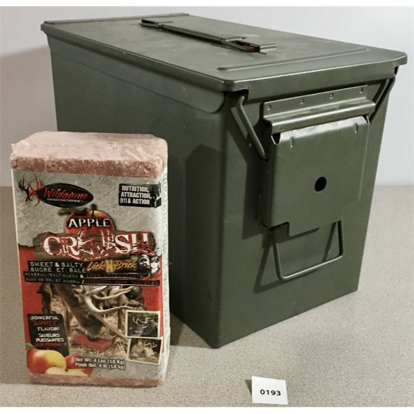 LOT OF 2- FAT 50 AMMO CAN & APPLE CRUSH DEER LICK