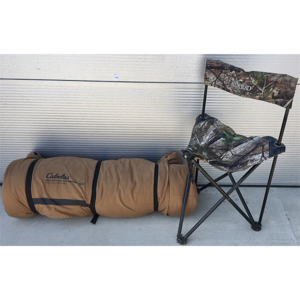 LOT OF 2 - CABELA'S MOUNTAIN TRAPPER +20 SLEEPING BAG & HUNTING CHAIR