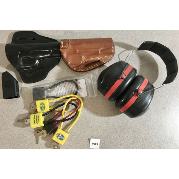 LOT OF 9 - 2X 1911 HOLSTERS, GLOCK MAG LOADER, 5X CABLE LOCKS, EAR MUFFS