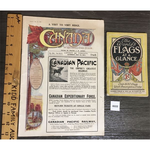 LOT OF 2 - VINTAGE PUBLICATIONS - WORLD FLAGS & 1917 CANADA JOURNAL