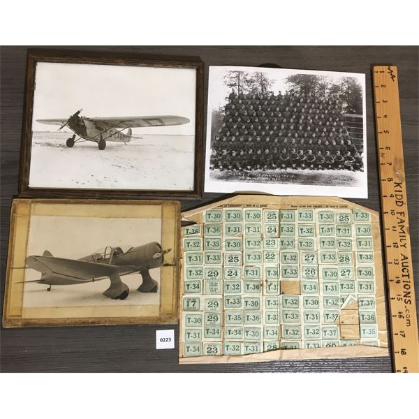 LOT OF 4 - 1940's PHOTOGRAPHS & RATION STAMPS