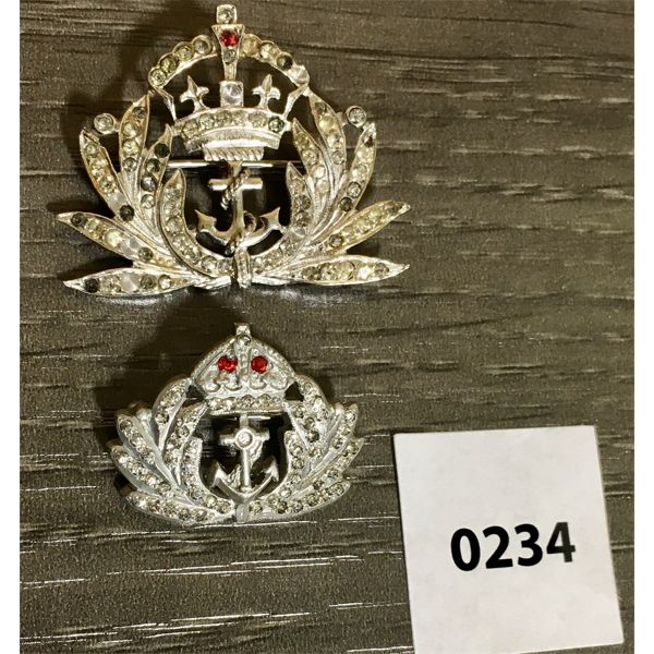 LOT OF 2 - NAVY SWEATHEART BROOCHES