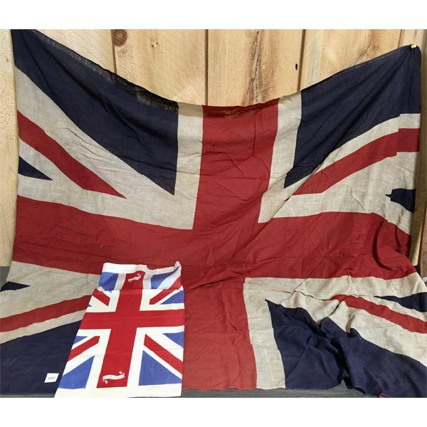 LOT OF 2 - ANTIQUE UNION JACK FLAGS