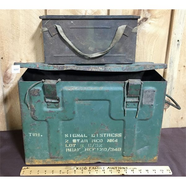 LOT OF 2 - METAL MILITARY AMMO BOXES