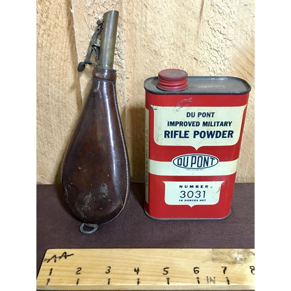 LOT OF 2 - DUPONT POWDER TIN AND LEATHER SHOT POUCH