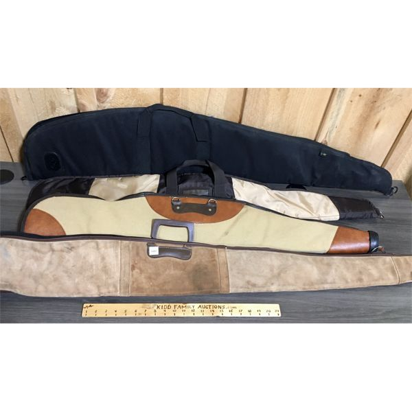 LOT OF 4 SOFT LONG GUN CASES - LEATHER & CANVAS