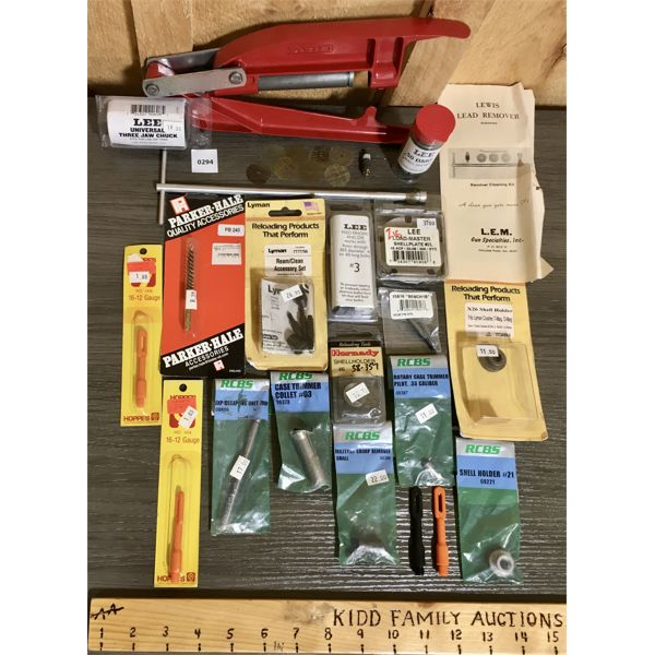 JOB LOT - LEE PRESS & CHUCK, MISC RELOADING ACCESSORIES, ETC - MANY AS NEW