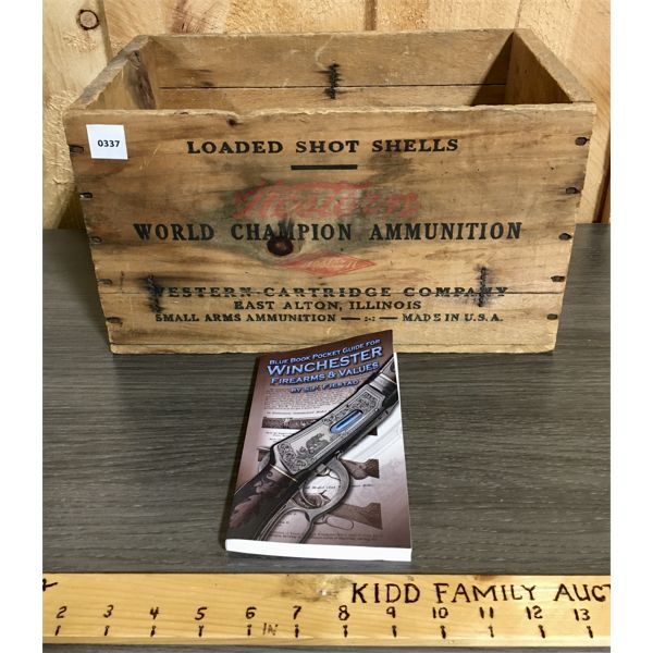 LOT OF 2 - WESTERN AMMO CRATE & WINCHESTER REFERENCE BOOK