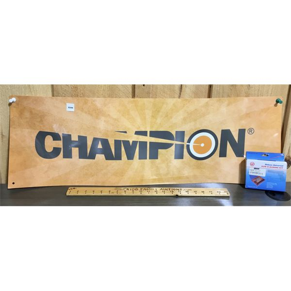 LOT OF 2 - CHAMPION ADVERTISING SIGN (12X36) & CLEANING KIT - NEW