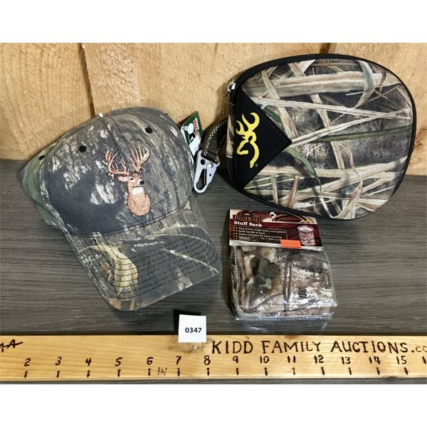 LOT OF 3 - HAT, POUCH & STUFF SACK - NEW