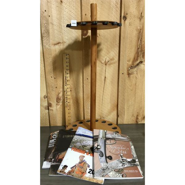 ROTATING FISHING ROD DISPLAY & MISC REF BOOKS - 27 INCHES