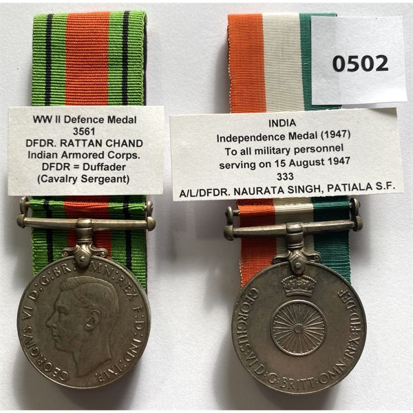 LOT OF 2 - WWII BRITISH INDIA MEDALS - DEFENCE & INDEPENDENCE