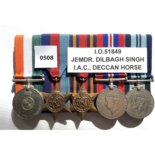 5 MEDAL BAR SET - BRITISH INDIA - DECCAN HORSE
