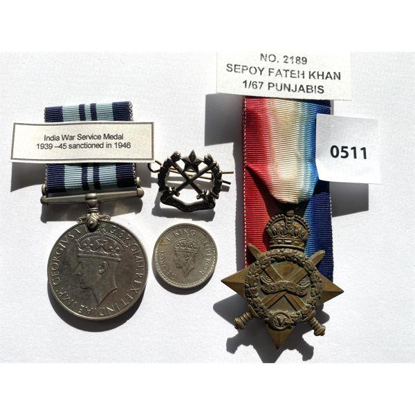 LOT OF 4 - BRITISH INDIA - SERVICE MEDAL & PIN. 1944 HALF-RUPEE. 1914-15 MEDAL.