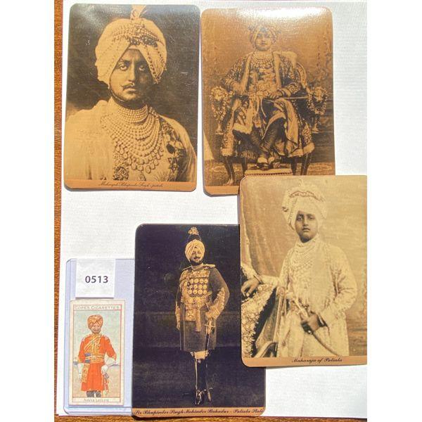 LOT OF 5 - BRITISH INDIA MILITARY POSTCARDS & CIGARETTE CARD