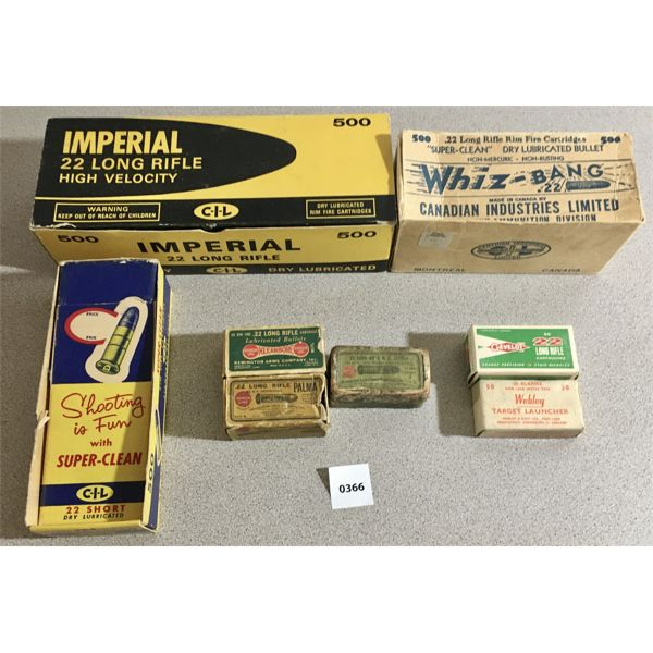 LOT OF 8- EMPTY VINTAGE 22 CAL AMMO BOXES