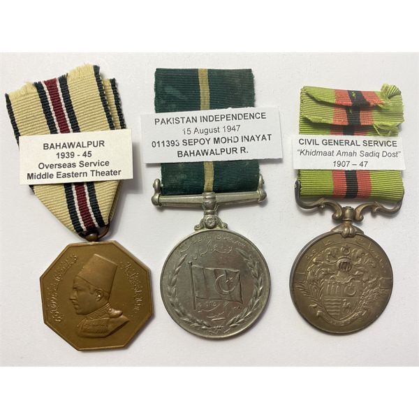 LOT OF 3 - BAHAWALPUR (INDIAN STATE) MEDALS - SERVICE & PAKISTAN INDEPENDENCE
