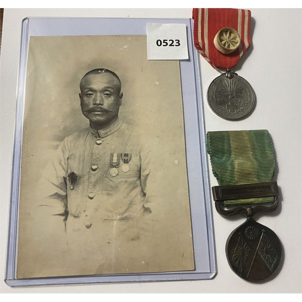 LOT OF 3 - IMPERIAL JAPAN - RED CROSS MEDALS & SERVICE PHOTO