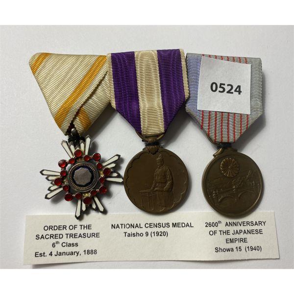 LOT OF 3 - IMPERIAL JAPAN MEDALS - 1888 SACRED TREASURE,1920 CENSUS, 1940 ANNIVERSARY