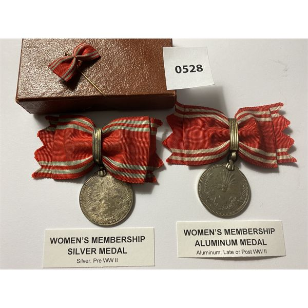 LOT OF 2 - IMPERIAL JAPAN - WOMEN'S MEMBERSHIP MEDALS IN SILVER & ALUMINUM - PRE & POST WWII